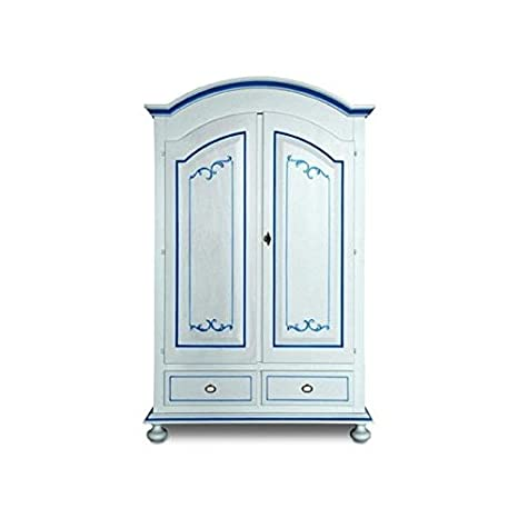 Wardrobe 2Doors Lacquered White Solid Wood Wire Blue