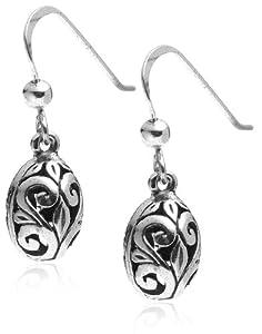 Sterling Silver Filigree Oval Drop Earrings