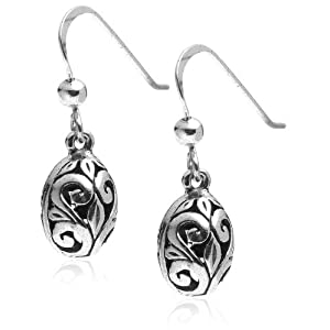 sterling silver filigree oval drop earrings