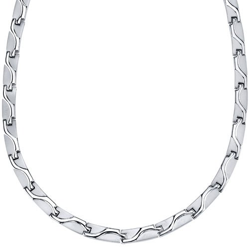 Rugged Appeal Titanium Mens Wave Pattern Flat Link 20 inch Chain Necklace Free Shipping