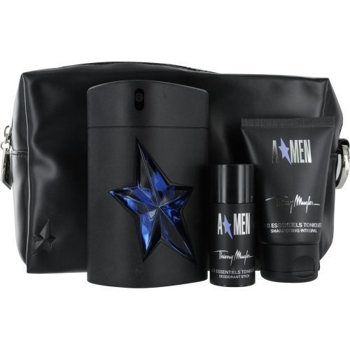 Thierry Mugler Angel Gift Set Eau de Toilette Spray Rubber Bottle 3.4 oz & Hair And Body Shampoo 1.7 oz & Deodorant Stick 0.7 oz & Toiletry Bag by Thierry Mugler