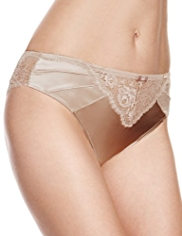 Rosie for Autograph Silk High Leg Knickers with French Designed Rose Lace