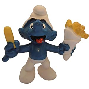 20131 - French Fries Smurf from the Smurfs by Peyo Schleich Vintage item Chip Shop Smurf with a bag of chips