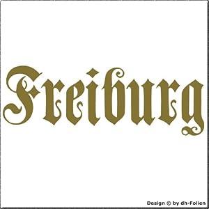 cartattoo4you AK-01584 | FREIBURG - Fraktur / Altdeutsche Schrift | Autoaufkleber Aufkleber FARBE gold , in 23 weiteren Farben erhältlich , glänzend 17 x 5 cm in PREMIUM - Qualität Waschstrassenfest VERSANDKOSTENFREI