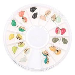Generic 24pcs/Set 3D Nail Art Tips Rhinestones Waterdrop Glitter Tips Decoration Manicure Wheel