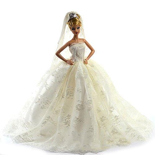 Barbie Brautkleid mit weißer Spitze Details der Komplett mit Schleier Fit die Barbie-Puppe von Webeauty