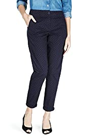 Pure Cotton Spotted Skinny Turn Up Trousers
