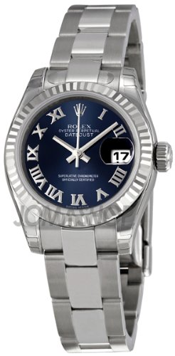 Rolex Datejust Blue Dial Fluted 18kt White Gold Bezel Ladies Watch 179174BLRO