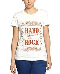 Adro Women's Round Neck Cotton T-Shirt (White)