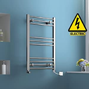 800 X 500 Mm Electric Heated Towel Rail Chrome Straight Ladder Bathroom Radiator Ibath Amazon