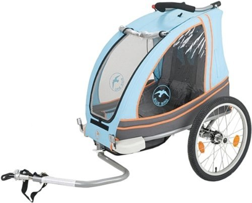 Blue Bird 2-in1 Kinderanhnger Jogger + Einsitzer + gefedert + Trkis Orange Gra