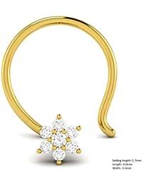 Vijisan 0.02 Ct.10KT Yellow Gold Diamond Nose Pin Ring For Women