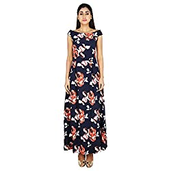 LondonHouze Floral Printed Maxi Skater Dress Navy (Small)