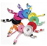 10pcs/lot 10 Colors Colorful 2M 6 Feet Long Flat USB Data Sync Charging Cable Cord for iPhone 5 5S