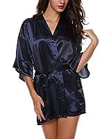 Avidlove Women's Kimono Robe Satin Lounge Bridesmaids Short Style