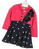 King So Kid Girl Cute Flower Long Sleeve T-shirt Polka Dot Tunic Mini Dress Fit For 1-4Y
