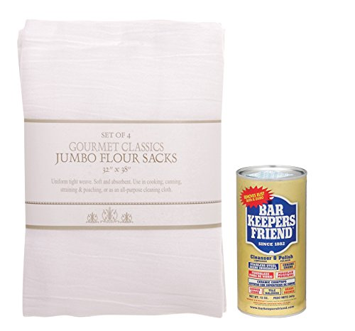 Barkeepers Friend Cookware Cleaner with Set-4 Jumbo Flour Sacks