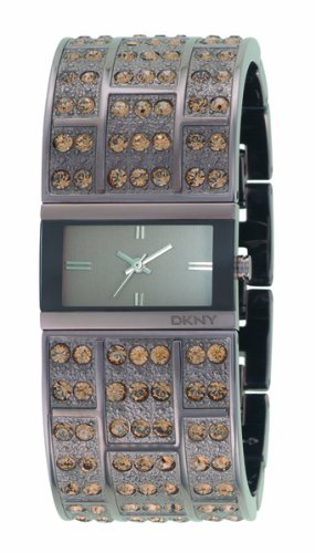 DKNY Ladies Stone Set IP Bracelet Watch With Brown Dial