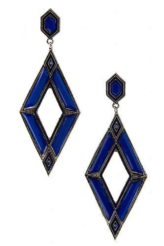Karmas Canvas Diamond Shape Epoxy Stone Earring (Blue) front-1037823
