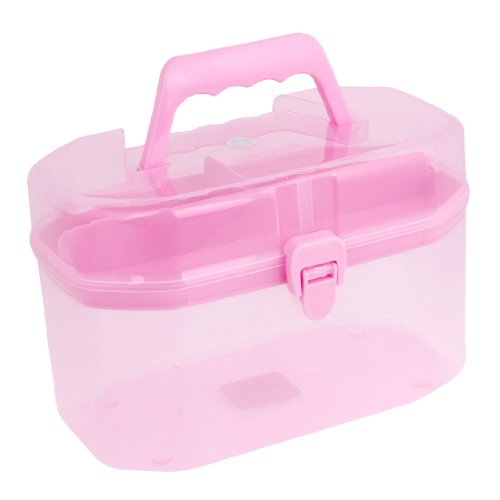 Octagonal Detachable Storage Handle Box Case Clear Pink