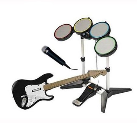 Wii Rock Band Bundle: Guitar, Drums & Microphone