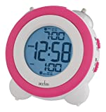 Acctim 15050 Vesper Alarm Clock, Pink/White