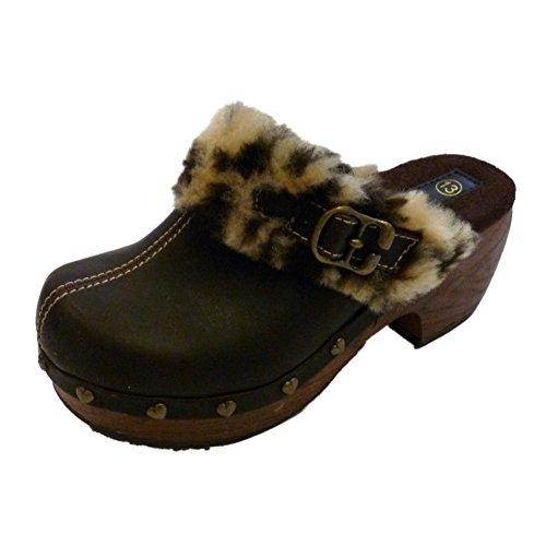 Xhilaration Marjan Girls Brown Clogs Furtrimmed Leopard Print Dress Shoes front-585771