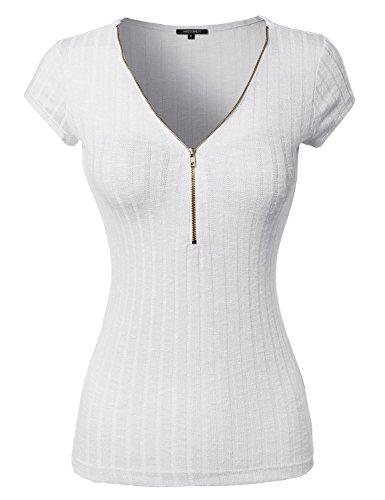 Zipper Front Rib Knit Short Sleeve Shirt White Size 1XL