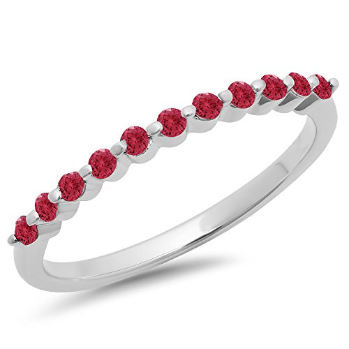 025-Carat-ctw-10K-Gold-Round-Red-Ruby-Ladies-11-Stone-Anniversary-Wedding-Stackable-Band-14-CT
