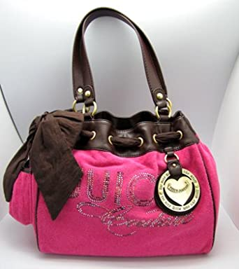 Juicy Couture Rhinestone Heart Charm Daydreamer Bag Tote Flamingo Pink