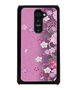 Printvisa Pink Floral Pattern Back Case Cover for LG G2::LG G2 D800 D980