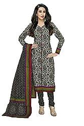 NidhiFabrics Women Cotton Dress material (SGP925_Grey)