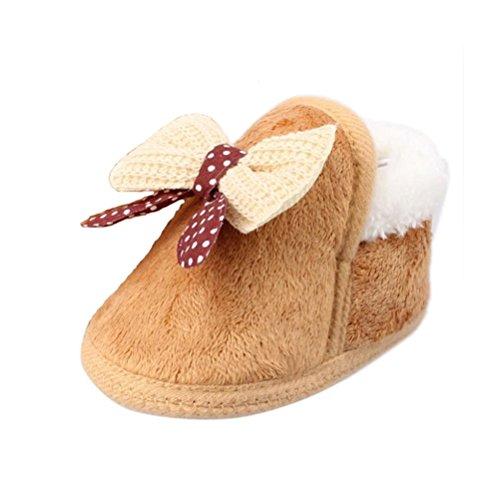 Scarpine Neonata,Xinantime Inverno Pattini Infantili Walking Bambino Morbida Boots (14, Marrone)