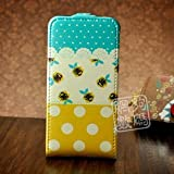 White, Yellow and Blue Polka Dot Pattern Magnetic Leather Flip Case with Flower Design For Apple iPhone 4S / 4 (AT&T, Verizon, Sprint)