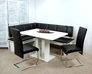 moderne eckbankgruppe wei schwarz eckbank set eckbankset dinninggruppe k che haushalt. Black Bedroom Furniture Sets. Home Design Ideas