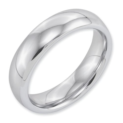 White Dura Tungsten 6mm Polished Band, Size 6