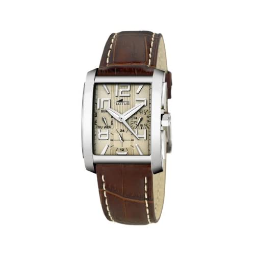 Lotus-Mens-Quartz-Watch-with-Beige-Dial-Analogue-Display-and-Brown-Leather-Stra