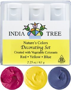 India Tree Natural Decorating Colors, 3 bottles(red,yellow,blue) (Indian Purple Corn compare prices)