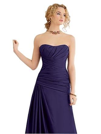 Evening Dress Cocktail Party Dress Wedding Dark Royal Blue Satin Strapless Floor-length Cocktail / Party / Wedding Dress (8)