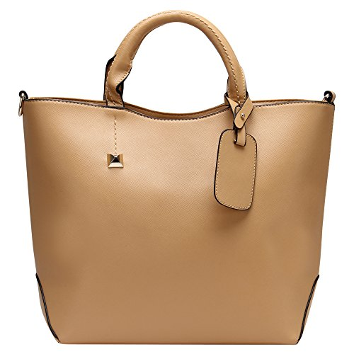 Hynes Eagle Womens Patent Leather Boutique Tote Bags Top Handle Handbag (Khaki)