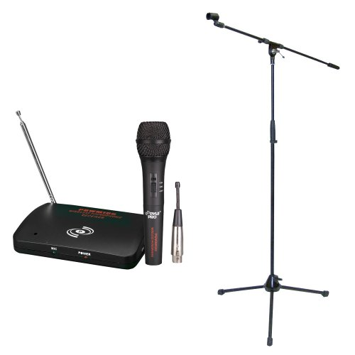 Pyle Mic And Stand Package - Pdwm100 Dual Function Wireless/Wired Microphone System - Pmks2 Tripod Microphone Stand W/Boom