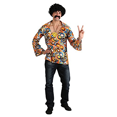 Psychedelic Groovy Hippie Shirt with Medallion for Men's Fancy Dress, Size M (37.5 to 39.5 inch chest)