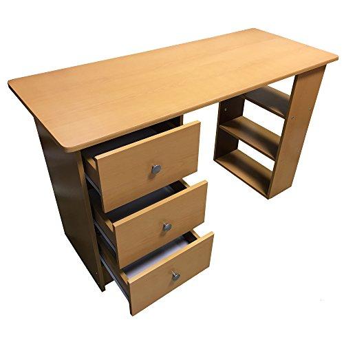 Redstone-Buche-Schreibtisch-3-Schubladen-3-Regale-Arbeitstisch-Computertisch-Brotisch