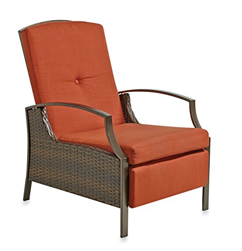Wicker Adjustable Recliner With Cushion | Terracotta picture