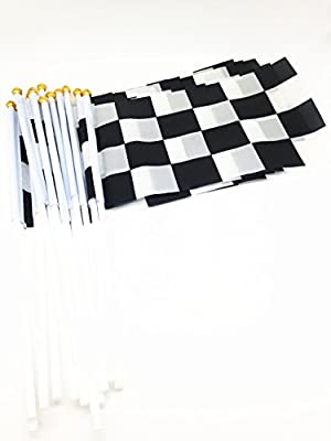 Pack of 15 pcs 8x5.5inch Racing Checkered Flag Pennant Banner Stick Flag for Nascar Theme Party Favor Decoration