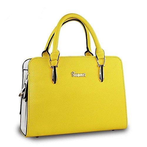 coreana-pu-pelle-ol-pendolari-tinta-unita-donna-tracolla-messenger-handbag-golden-yellow