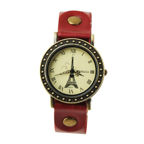 Yesurpriseweave Classic Leather Band Black Paris Eiffel Tower Women Quartz Wrist Watch Birthday Gift Red