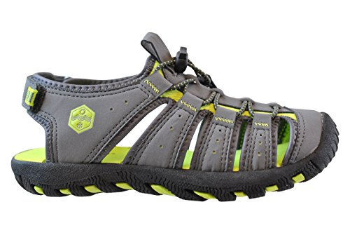 Khombu Kids Summer Sandals, Grey/Lime, 3