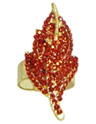 Red Stone Studded Leaf Ring - Stone And Metal