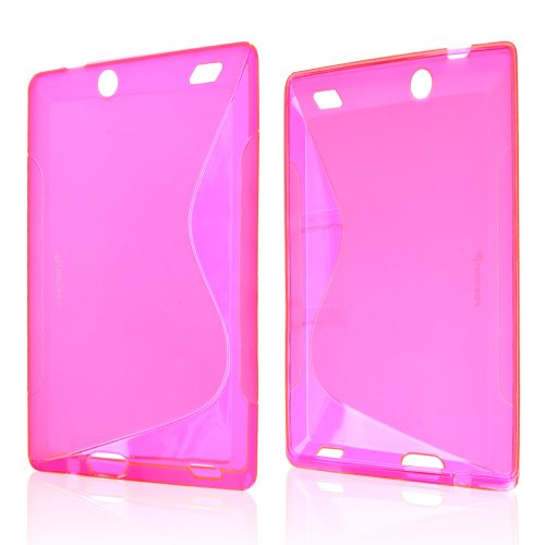 Clear/ Frost Hot Pink S-Shape Amazon Kindle Fire HD 7 2013 TPU Gel Case Cover [Anti Slip] Supports Premium High Definition Anti-Scratch Screen Protector; Best Design with High Quality; Coolest Soft Silicone Rubber Case Cover for Kindle Fire HD 7 2013 (Release Date) Supports Amazon Fire HD 7 2013 Devices From Verizon, AT&T, Sprint, and T-Mobile